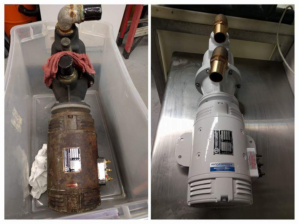 Pump motor rebuild - before and after - Ingham Engineering